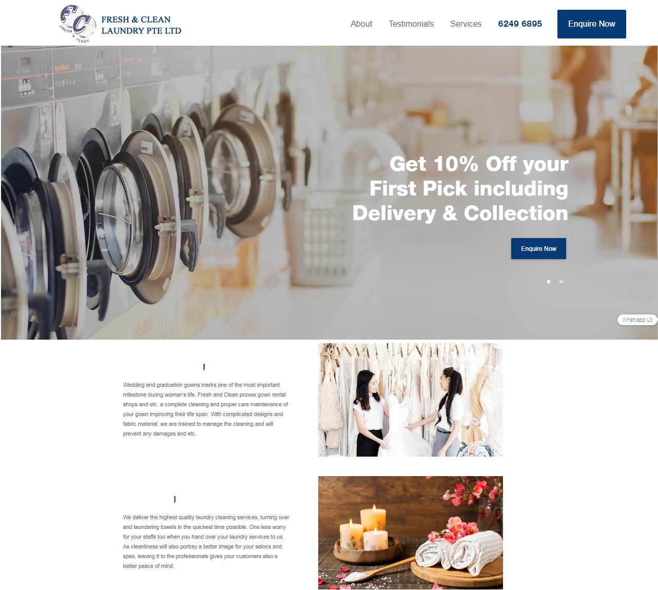 Fresh & Clean Laundry Services' Website