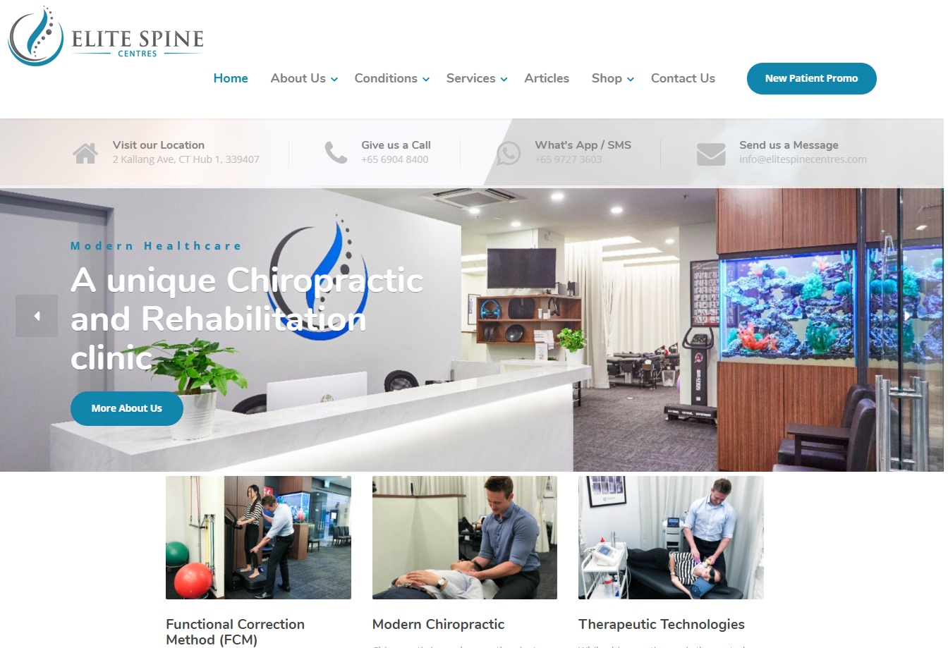 Elite Spine Centres' Homepage