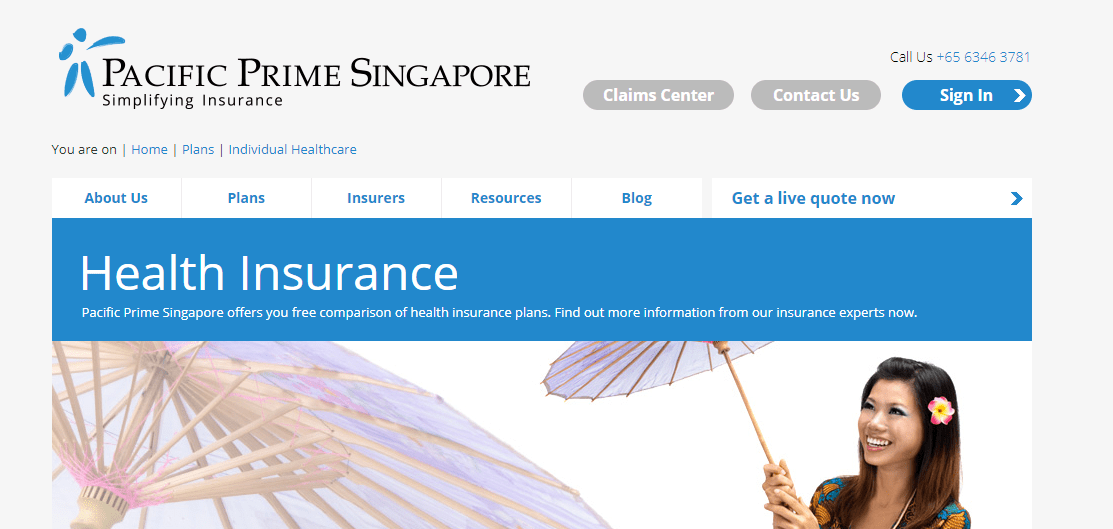 Pacific Prime Health Insurance's Homepage