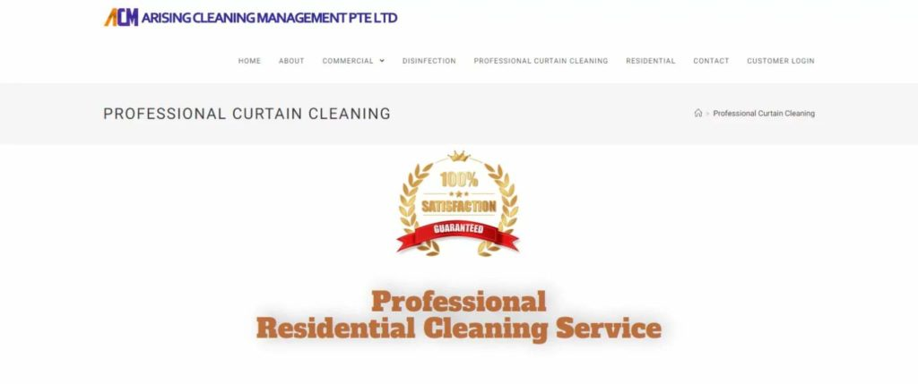 Arising Cleaning Management's Homepage