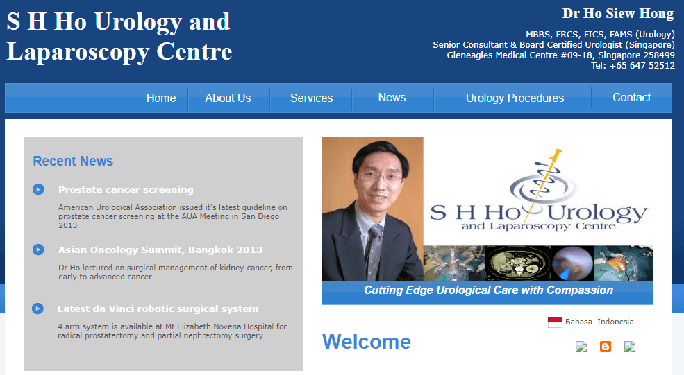 S H Ho Urology and Laparoscopy Centre's Homepage