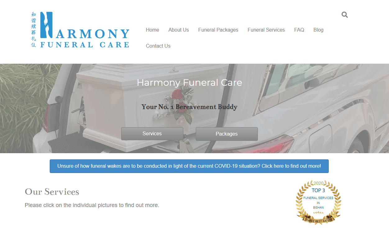 Harmony Funeral Care's Homepage