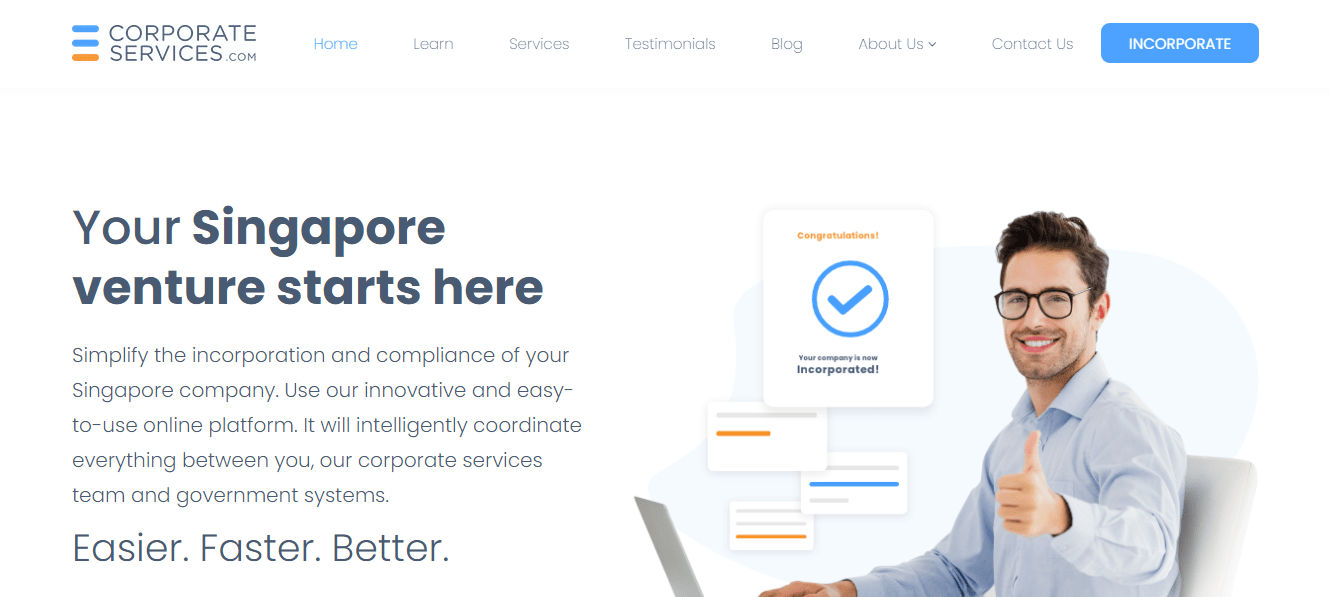 Corporate Services' Homepage