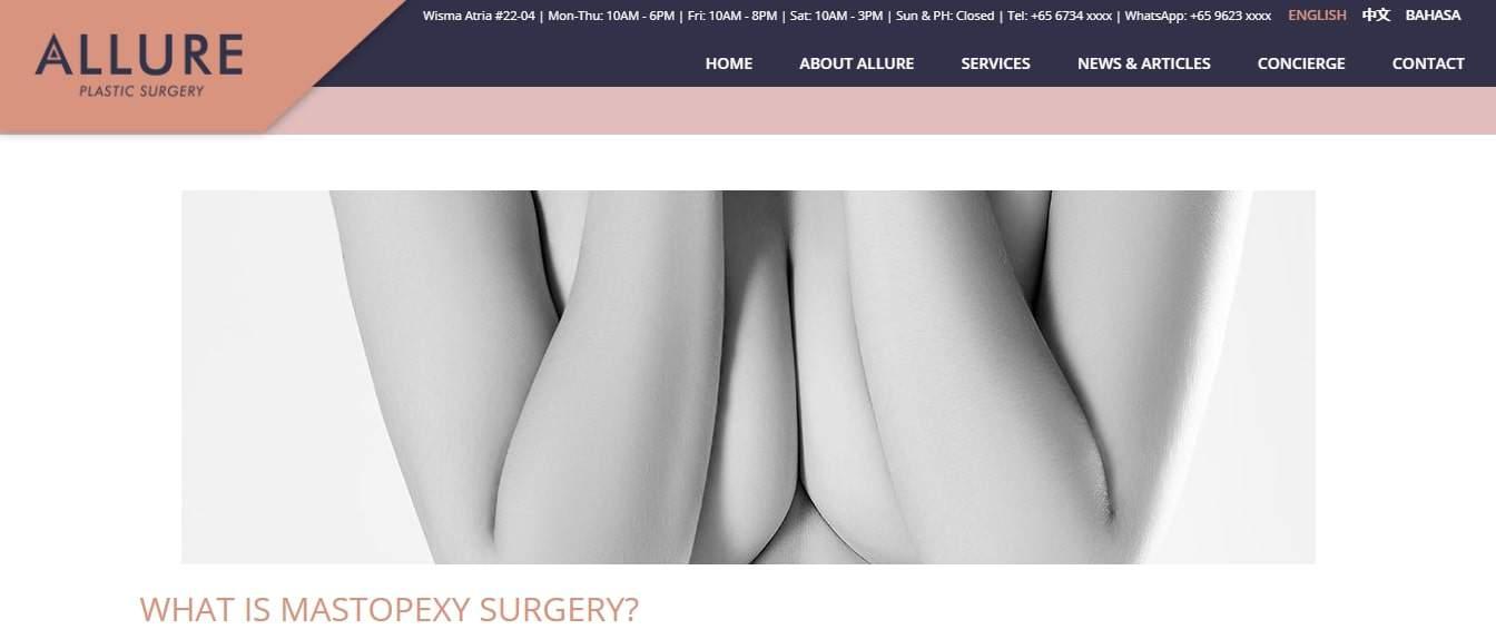 Allure Plastic Surgery's Homepage