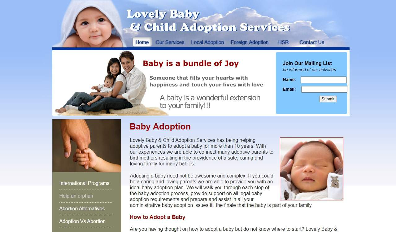 Lovely Baby and Child Adoption Services' Homepage
