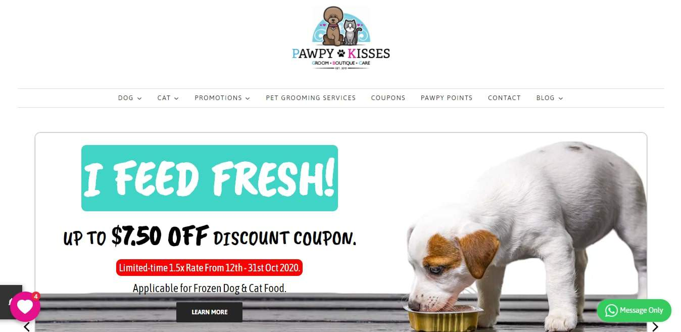 Pawpy Kisses Pet Shop & Pet Grooming Services' Homepage